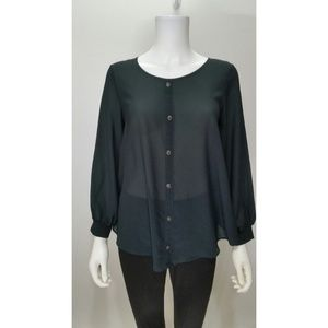Audrey 3+1  Semi Sheer Open Back Blouse Size S